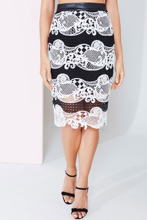 Monochrome Colour Block Lace Skirt