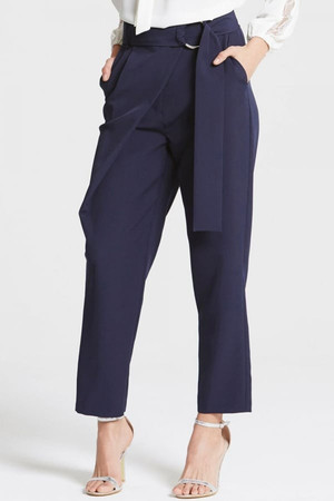 Navy Tailored Trousers With Belt