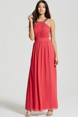Pink Embellished Chiffon Maxi Dress