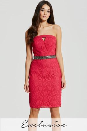 Pink Embellished Waist Lace Bandeau Dress