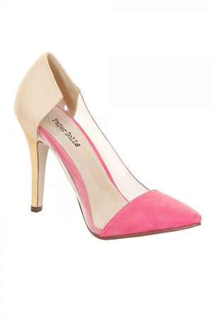 Pink & Cream Perspex Court Heel