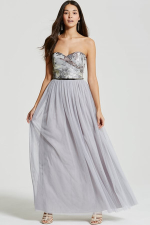 Silver Jacquard Bandeau Maxi Dress