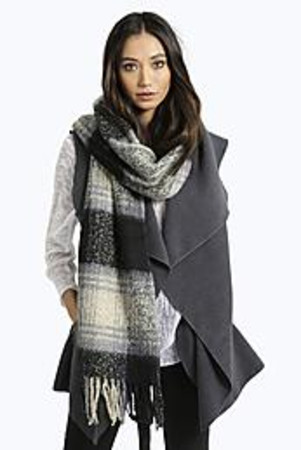 Boucle Checked Tartan Scarf black