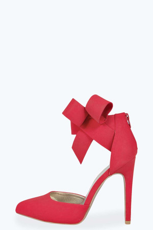 Bow Detail Pointed Heels red