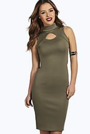 Brooke Cut Out Midi Bodycon Dress khaki