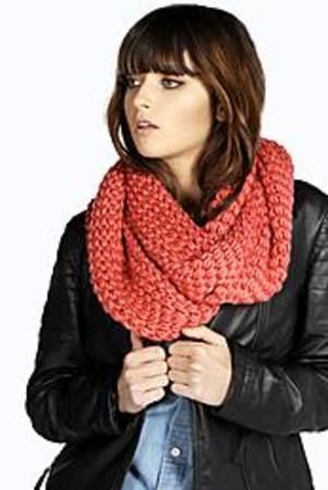 Cable Knit Snood Scarf coral
