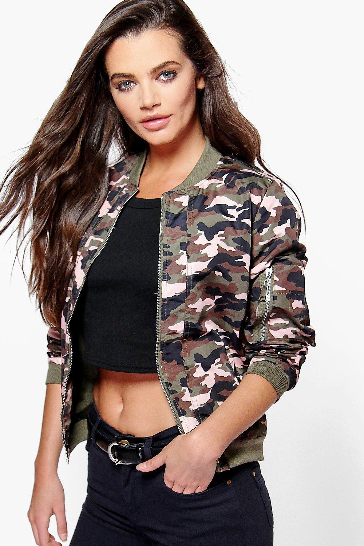 Camo Bomber Jacket pink