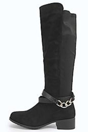 Chain And Buckle Knee Boot black