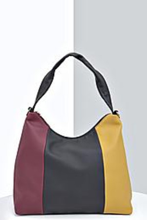 Colour Block Slouchy Day Bag mustard