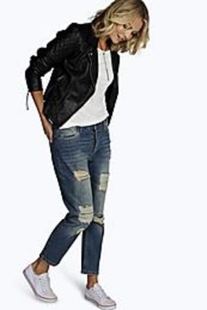 Contrast Distressed Boyfriend Jeans mid blue