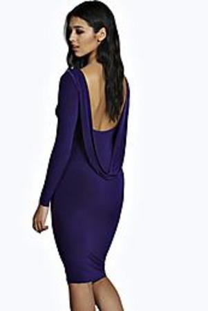 Cowl Back Slinky Midi Dress purple