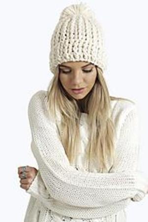 Crochet Knit Hat cream