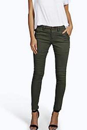 Cropped Low Rise Utility Skinny Jeans - khaki