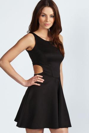Cut Out Sides Skater Dress - black
