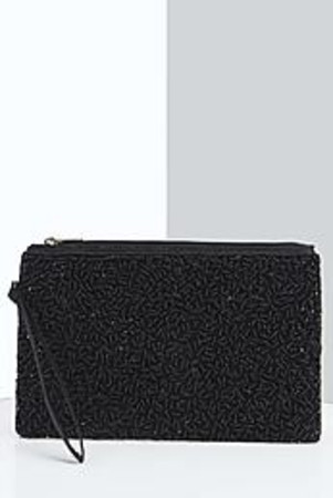 Daisy Sequin Clutch Bag black