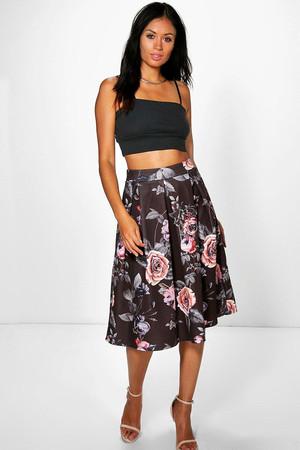 Dark Floral Box Pleat Midi Skirt - multi