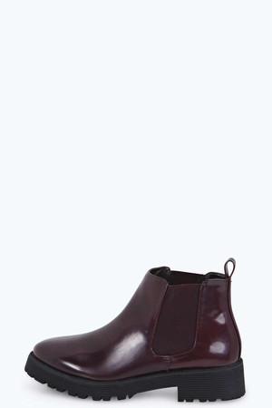 Deep Gusset Patent Chelsea Boot burgundy