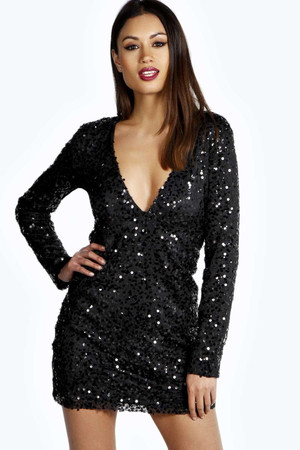 Deep Plunge Sequin Bodycon Dress black
