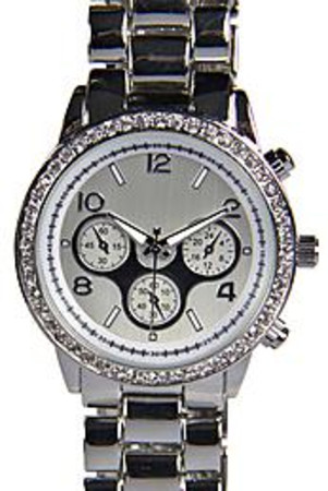 Diamante Face Bracelet Watch silver