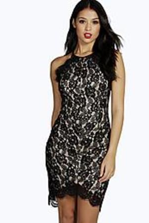 Emma Lace Dip Hem Bodycon Dress - black