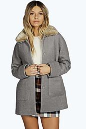 Faux Fur Collar Coat grey