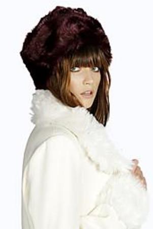 Faux Fur Hat wine