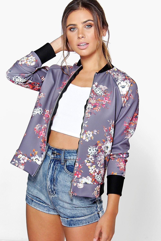 Felicity Floral Bomber Jacket - lilac
