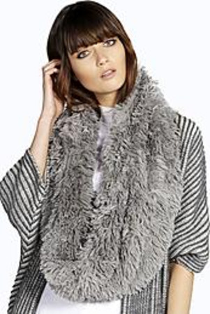 Fluffy Snood Scarf grey