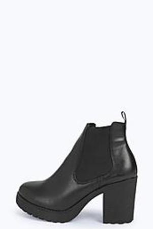 Gusset Block Heel Boot black