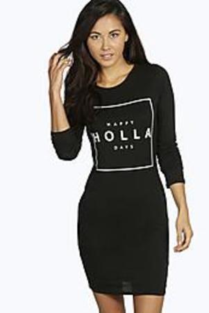 Happy Holla Days Bodycon Christmas Dress black