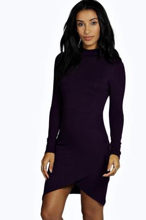 High Neck Asymmetric Bodycon Dress grape