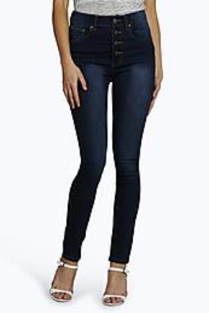 High Rise Button Front Skinny Jeans dark blue