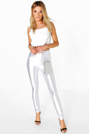 High Waist Super Stretch Satin Disco Trousers - ivory