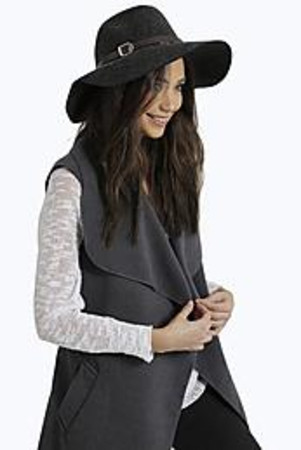 Isla Marl 100% Wool Fedora Hat black