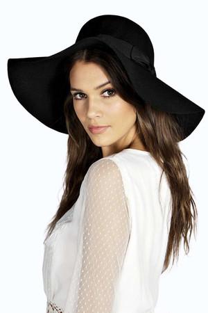 Jenny Floppy Wool Hat With Bow Trim black