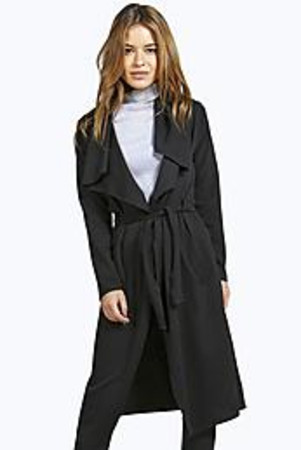 Kendal Wrap Front Trench Coat black