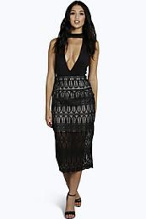 Lace Contrast Midi Skirt black