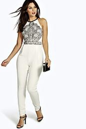 Lace Print Cut Away Shoulder Jumpsuit ivory