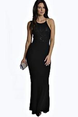 Lace Top Fishtail Maxi Dress black