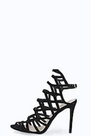 Laser Cut Cage Heel black