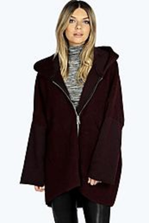 Megan Oversized Wool Zip Through Coat wine