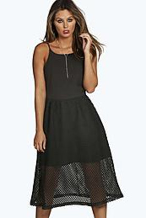 Mesh Overlay Strappy Midi Skater Dress - black