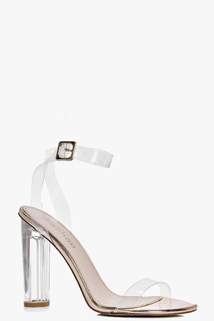 Metallic Clear Cylinder Two Part Heels rose gold