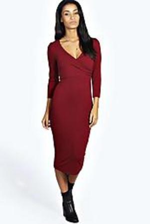 Midi Wrap Dress berry
