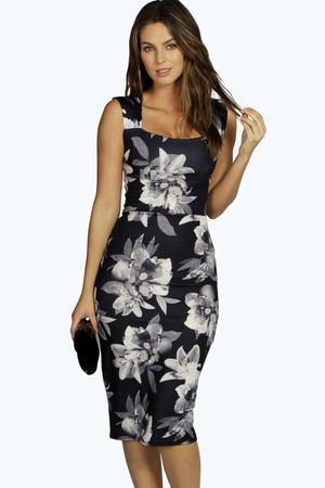 Monochrome Floral Sweetheart Midi Dress black