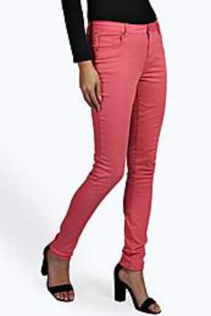 Neon 5 Pocket Skinny Jeans coral