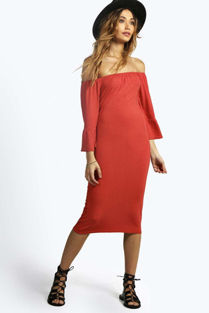 Off Shoulder Bell Sleeve 70's Midi Dress rust