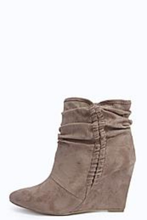 Over Ankle Plait Trim Wedge Boot taupe