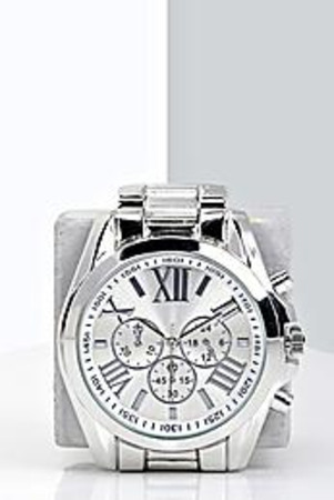 Oversized Bracelet Watch silver