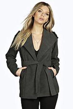 PU Trim Waterfall Belted Coat charcoal